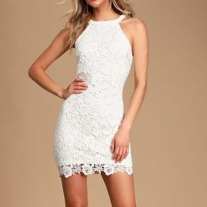 LULU'S Love Poem Ivory Lace Mini Dress